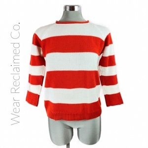ALFRED SUNG Striped Back Zip Cotton Sweater